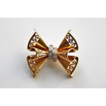 retrp bow ribbon brooch