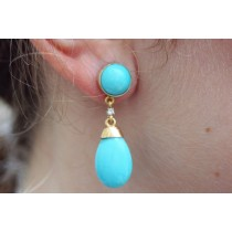 turqoise dangling earrings on ear