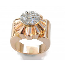 retro diamond flower ring