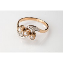 winged art nouveau pearl ring