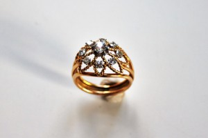 diamond dome ring wired flower motif diag