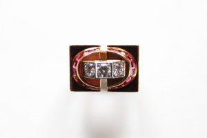 1940 TANK ring with diamonds and synthetic rubies