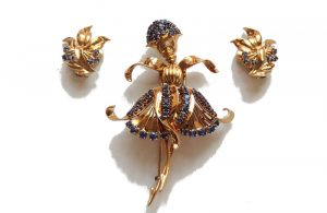 John Rubel ballerina brooch and pair of earrings, 1940s